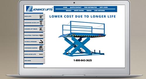 Advance Lifts - website development,